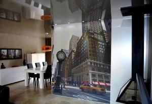 Plafond tendu laqué gris et décor mural sur toile ( pose à froid)