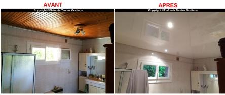 Plafond tendu laqué blanc BARRISOL pour illuminer la SdB et cacher le lambris