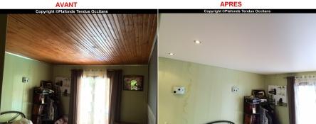 Plafond tendu mat blanc BARRISOL pour cacher le lambris